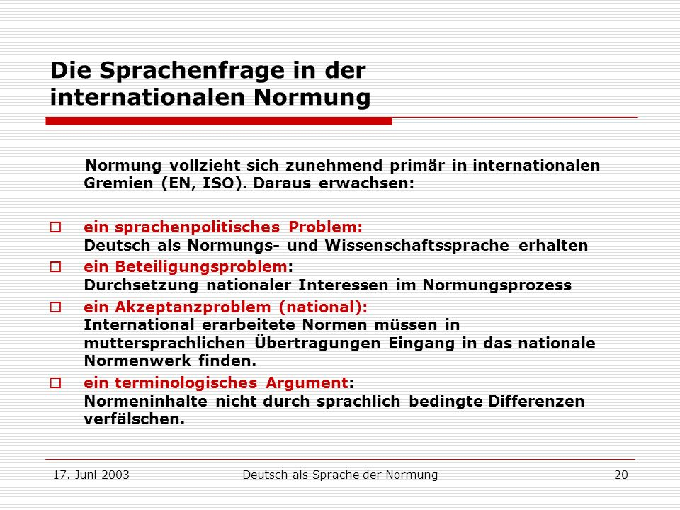 Die Sprachenfrage in der internationalen Normung