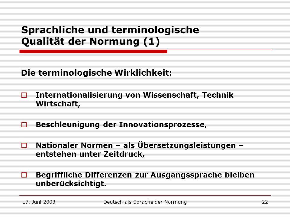 Sprachliche und terminologische Qualität der Normung (1)