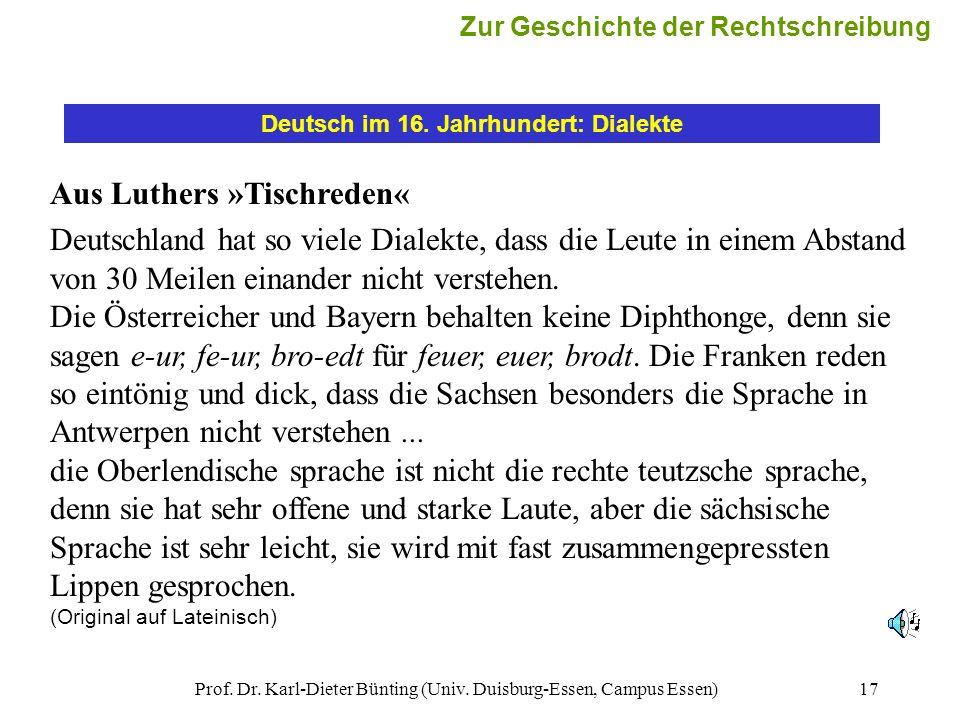 Deutsch im 16. Jahrhundert: Dialekte