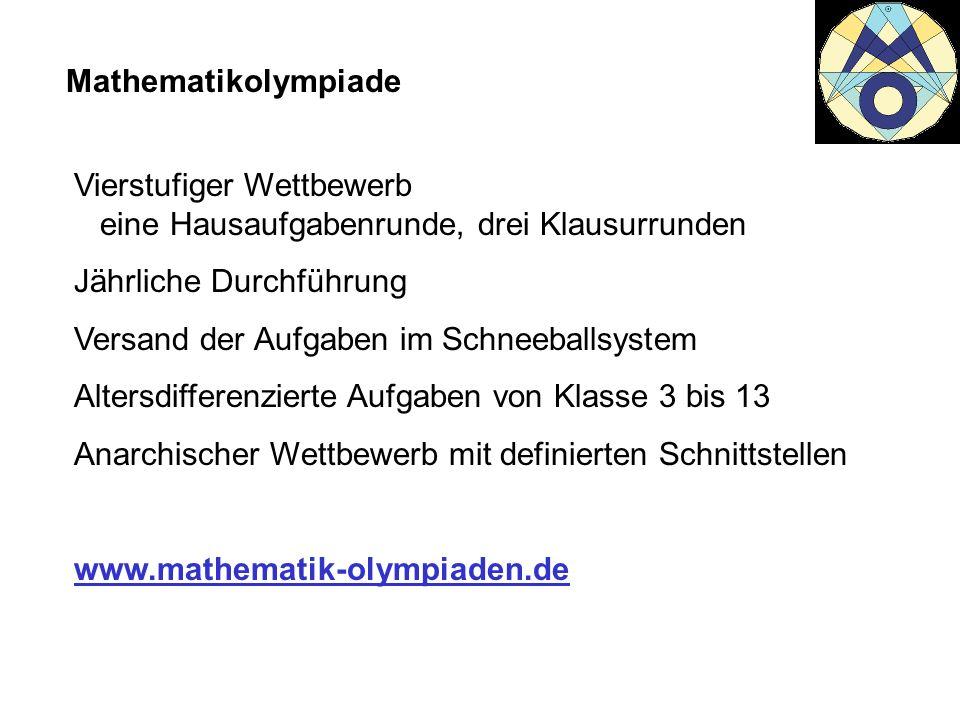 Mathematikolympiade Vierstufiger Wettbewerb eine Hausaufgabenrunde, drei Klausurrunden. Jährliche Durchführung.