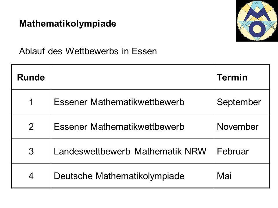 Mathematikolympiade Ablauf des Wettbewerbs in Essen. Runde. Termin. 1. Essener Mathematikwettbewerb.