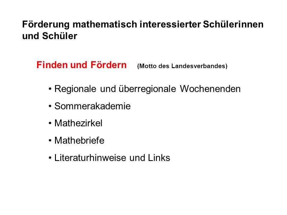 Förderung mathematisch interessierter Schülerinnen und Schüler