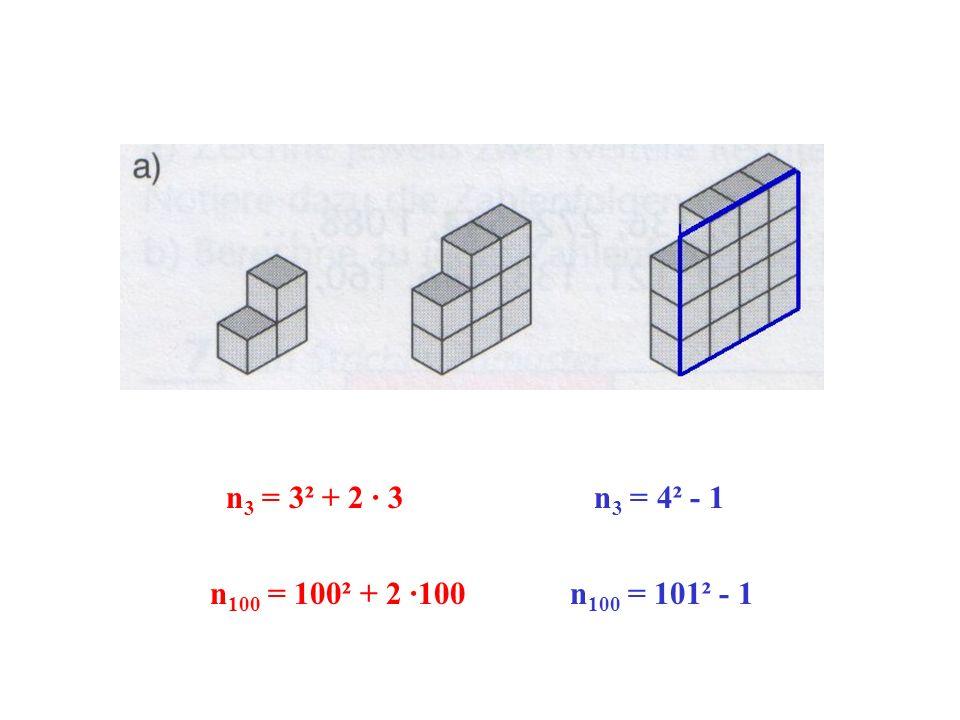 n3 = 3² + 2 · 3 n3 = 4² - 1 n100 = 100² + 2 ·100 n100 = 101² - 1