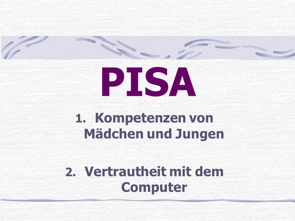 Kompetenzen von Mädchen und Jungen Vertrautheit mit dem Computer