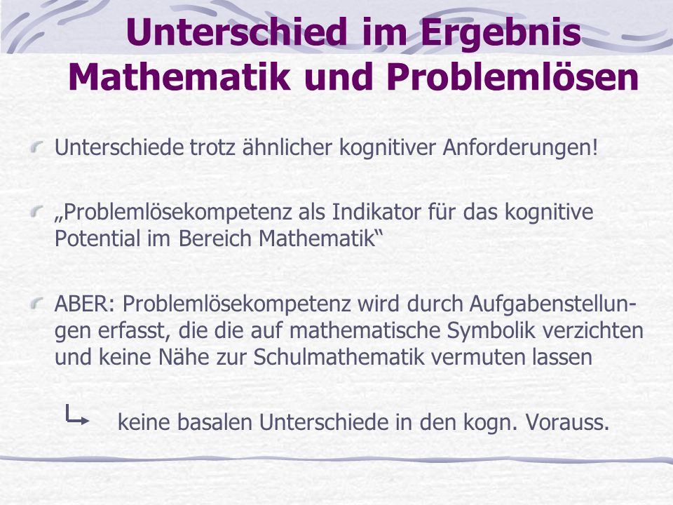 Unterschied im Ergebnis Mathematik und Problemlösen