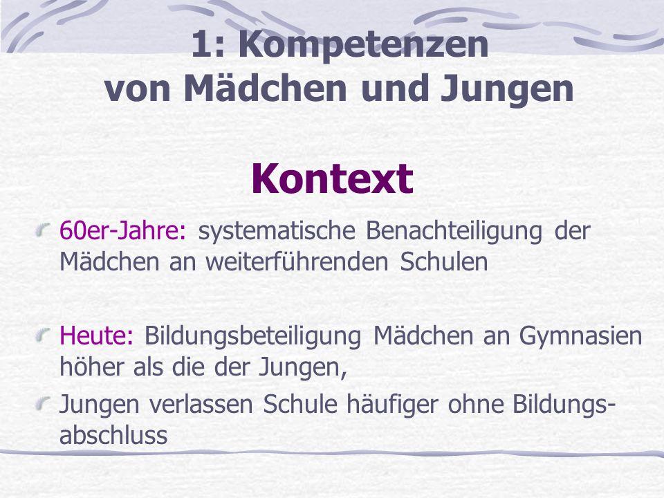 Kontext 1: Kompetenzen von Mädchen und Jungen
