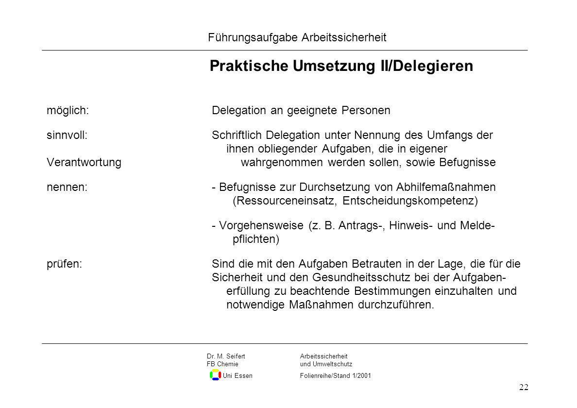 Praktische Umsetzung II/Delegieren