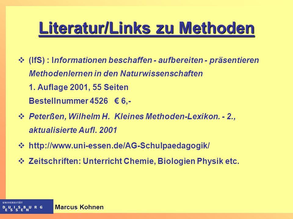 Literatur/Links zu Methoden