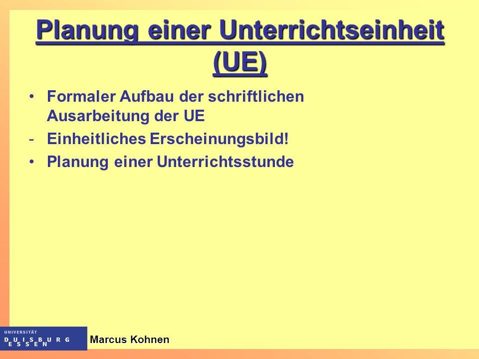 Planung einer Unterrichtseinheit (UE)