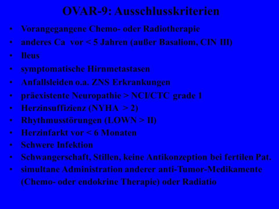 OVAR-9: Ausschlusskriterien