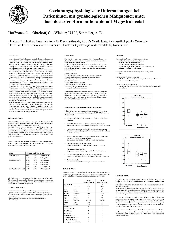 Gerinnungsphysiologische Untersuchungen bei Patientinnen mit gynäkologischen Malignomen unter hochdosierter Hormontherapie mit Megestrolacetat