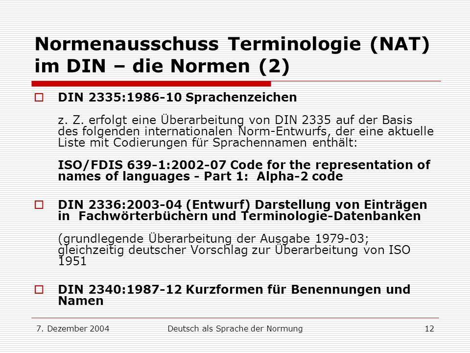 Normenausschuss Terminologie (NAT) im DIN – die Normen (2)