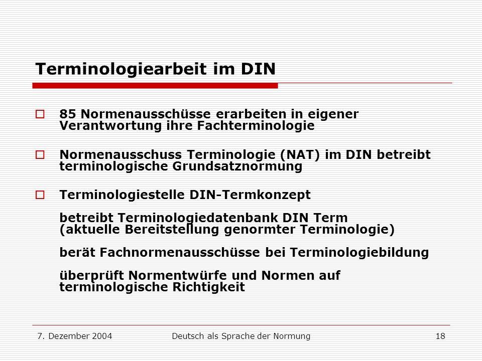 Terminologiearbeit im DIN