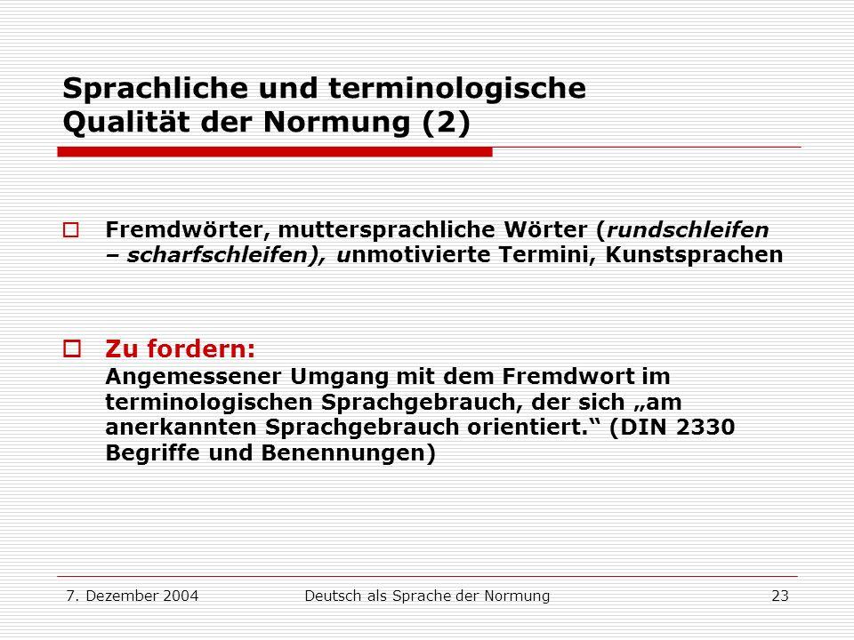 Sprachliche und terminologische Qualität der Normung (2)