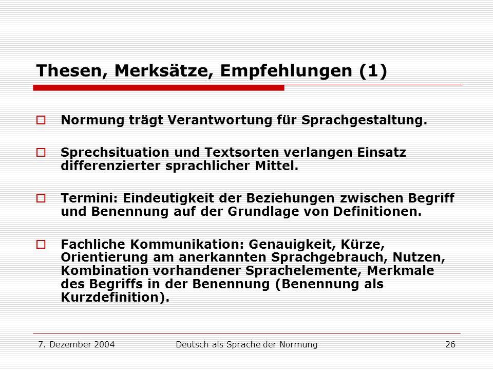 Thesen, Merksätze, Empfehlungen (1)