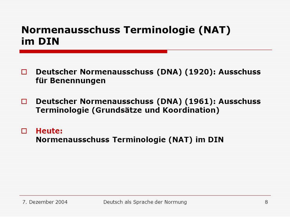 Normenausschuss Terminologie (NAT) im DIN
