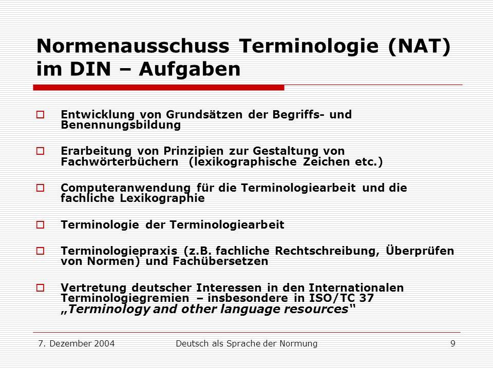 Normenausschuss Terminologie (NAT) im DIN – Aufgaben