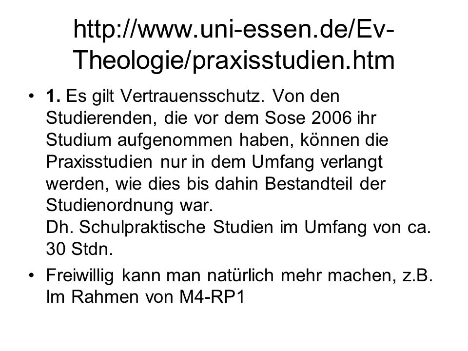 http://www.uni-essen.de/Ev-Theologie/praxisstudien.htm