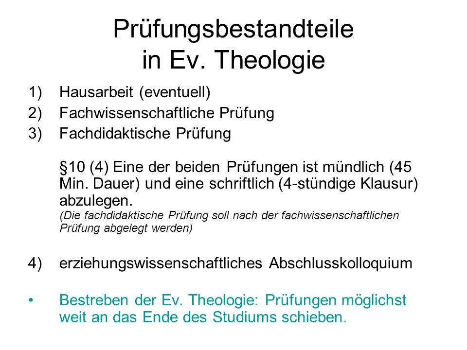 Prüfungsbestandteile in Ev. Theologie