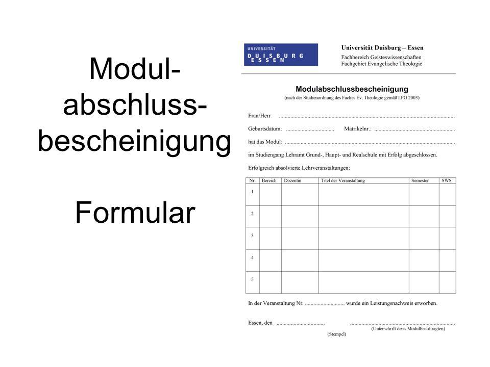 Modul-abschluss- bescheinigung Formular
