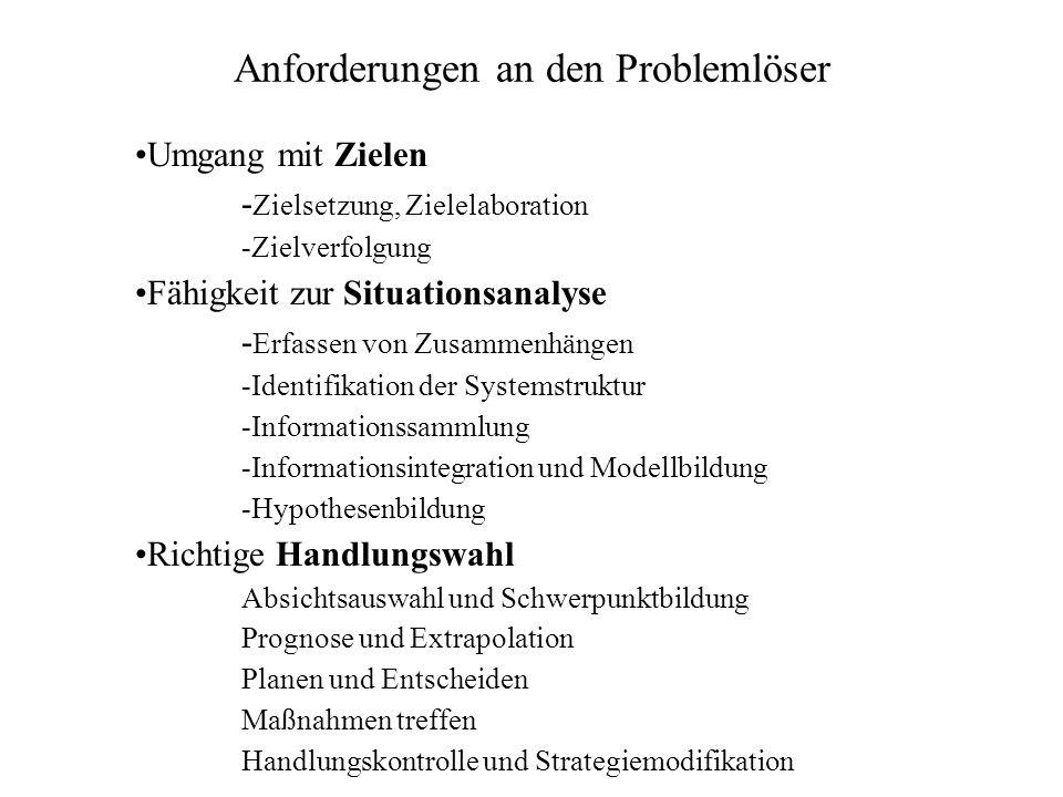 Anforderungen an den Problemlöser