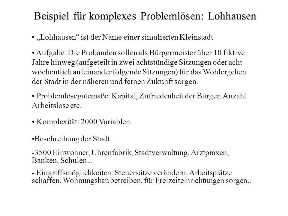 Beispiel für komplexes Problemlösen: Lohhausen