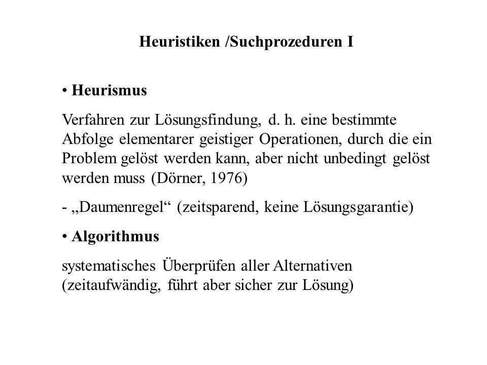 Heuristiken /Suchprozeduren I