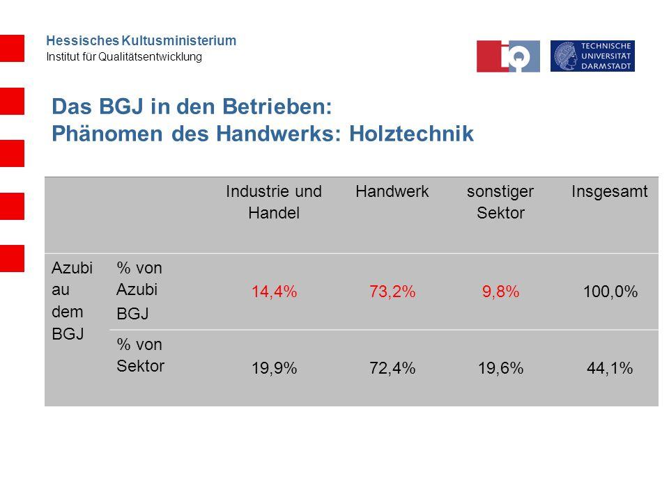 Das BGJ in den Betrieben: Phänomen des Handwerks: Holztechnik