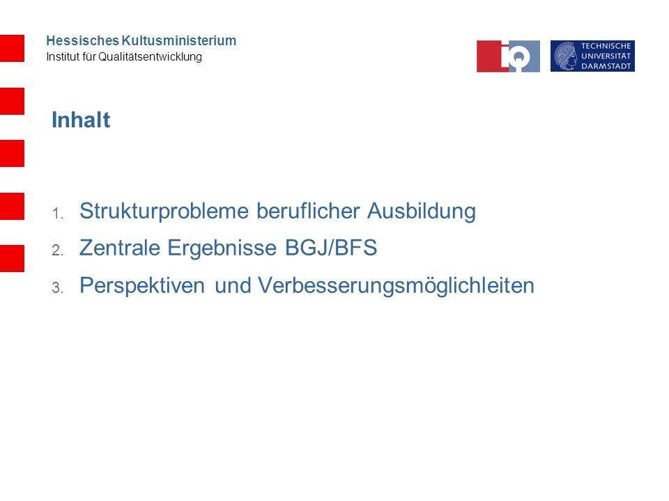 Inhalt Strukturprobleme beruflicher Ausbildung. Zentrale Ergebnisse BGJ/BFS.