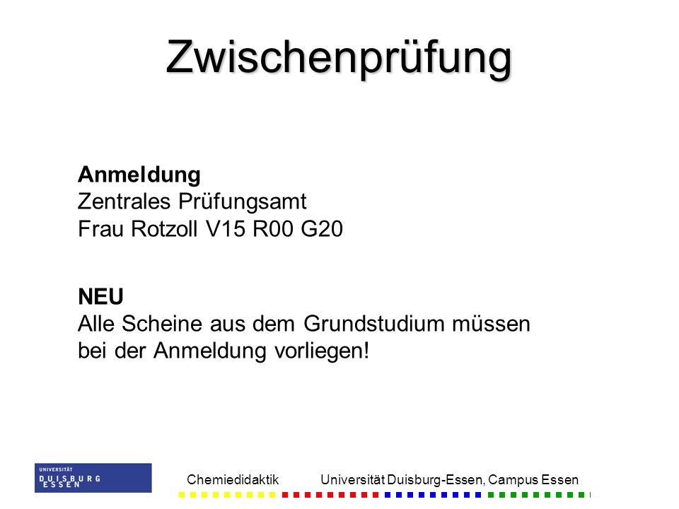 Zwischenprüfung Anmeldung Zentrales Prüfungsamt Frau Rotzoll V15 R00 G20. NEU Alle Scheine aus dem Grundstudium müssen bei der Anmeldung vorliegen!