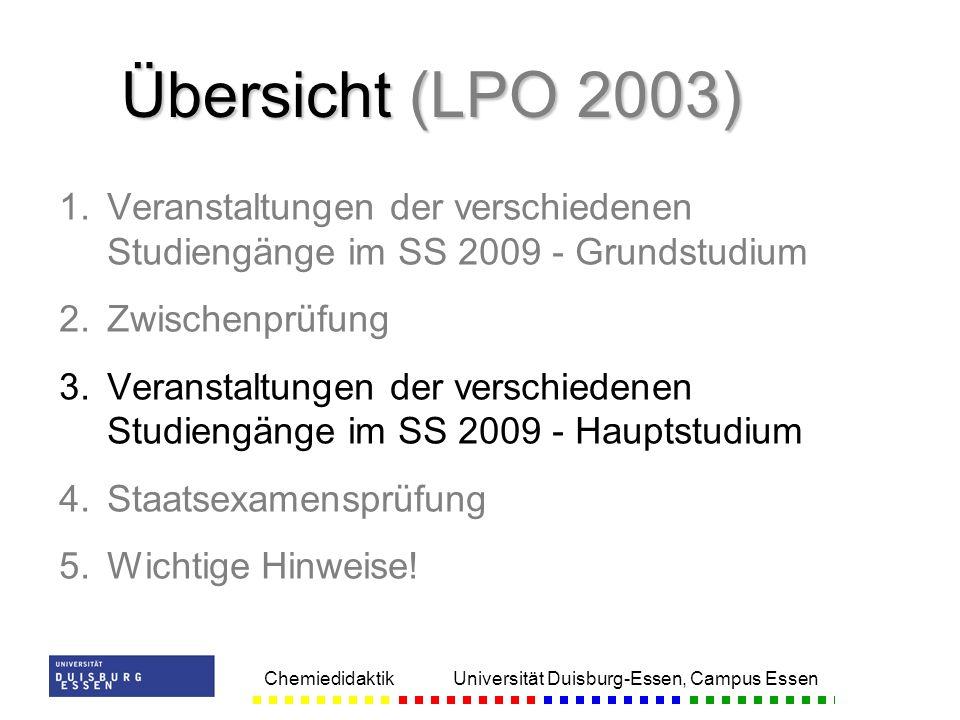 Übersicht (LPO 2003) Veranstaltungen der verschiedenen Studiengänge im SS 2009 - Grundstudium. Zwischenprüfung.