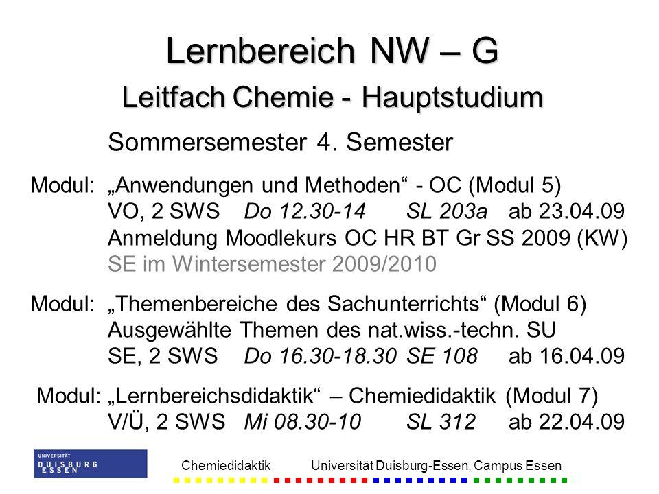 Lernbereich NW – G Leitfach Chemie - Hauptstudium