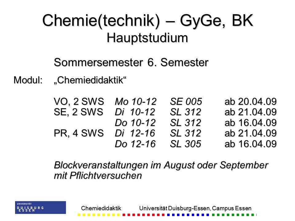 Chemie(technik) – GyGe, BK Hauptstudium