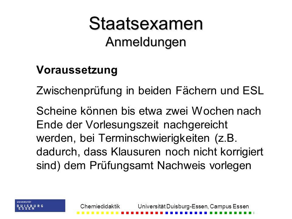 Staatsexamen Anmeldungen