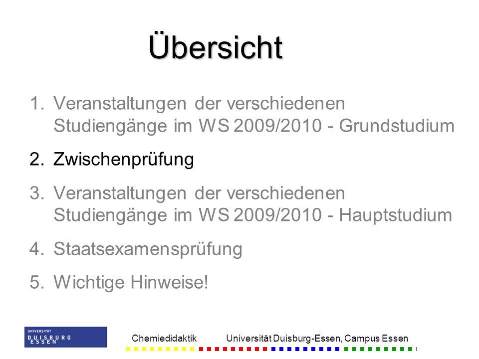 Übersicht Veranstaltungen der verschiedenen Studiengänge im WS 2009/2010 - Grundstudium. Zwischenprüfung.