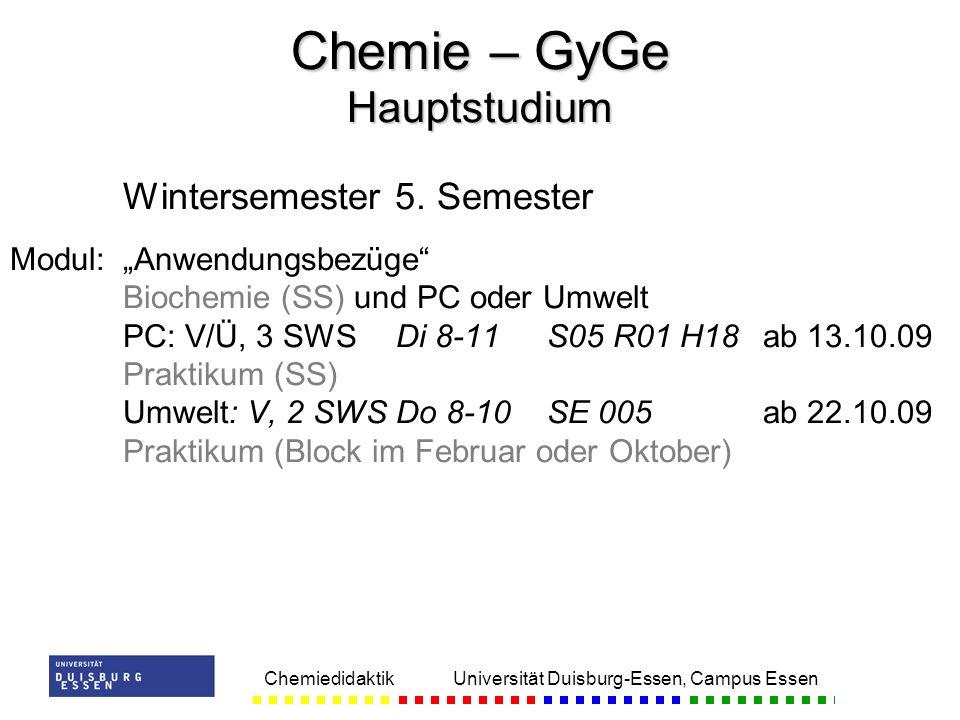 Chemie – GyGe Hauptstudium
