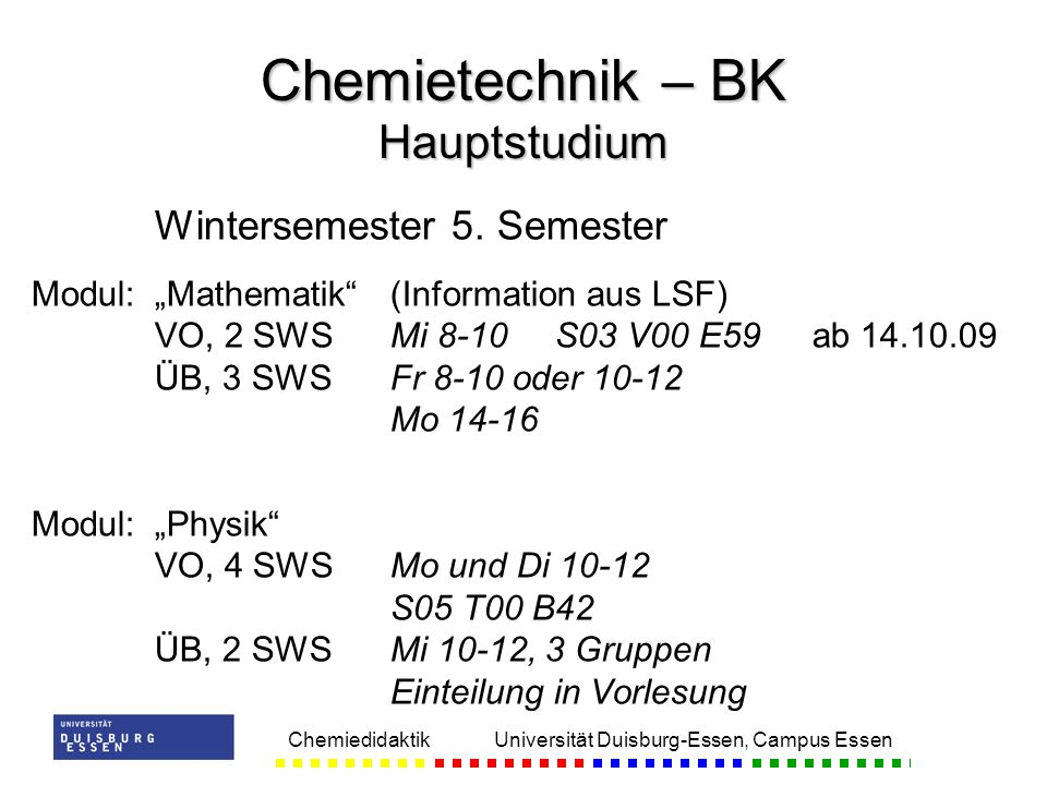 Chemietechnik – BK Hauptstudium