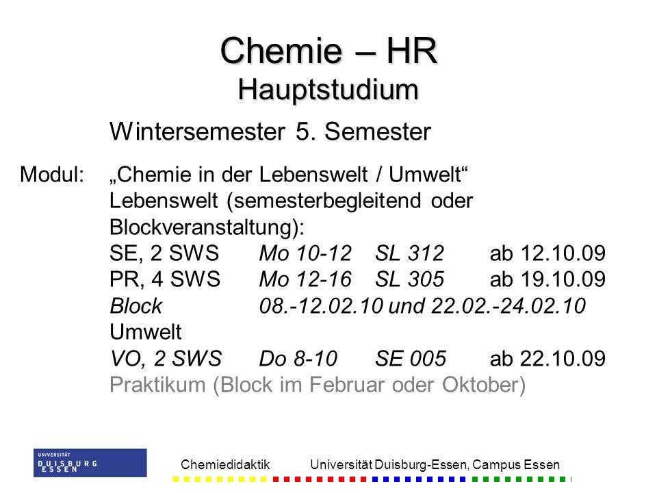 Chemie – HR Hauptstudium