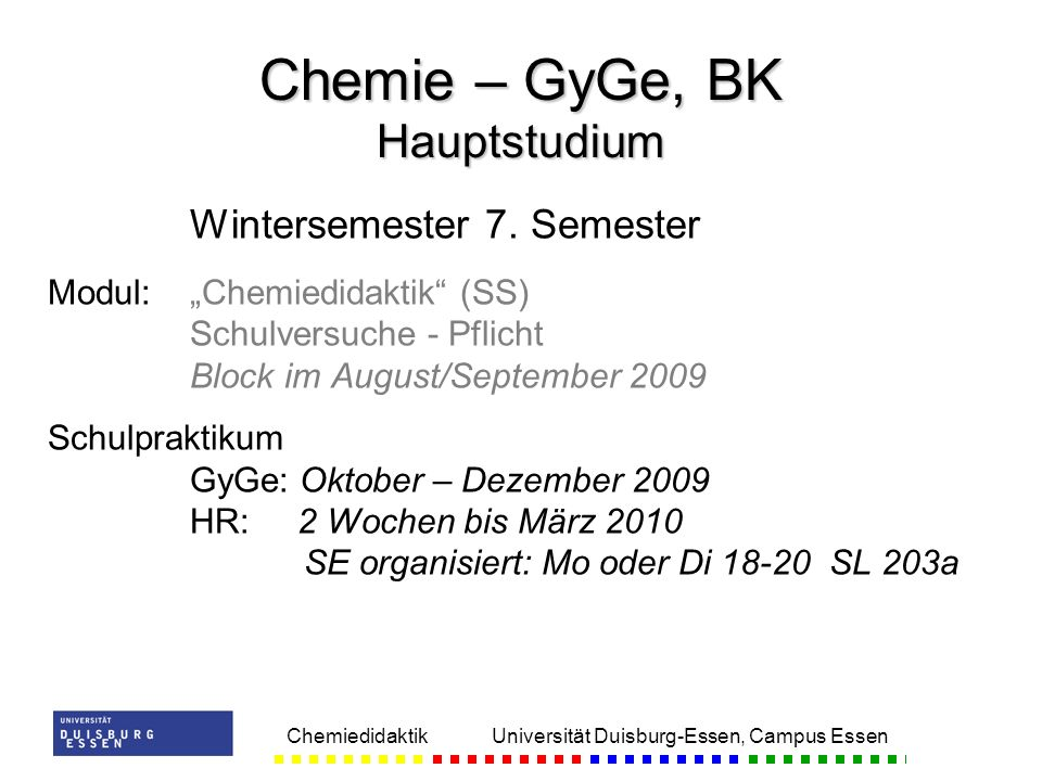Chemie – GyGe, BK Hauptstudium