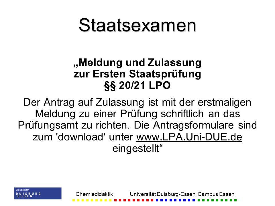 """""""Meldung und Zulassung zur Ersten Staatsprüfung §§ 20/21 LPO"""