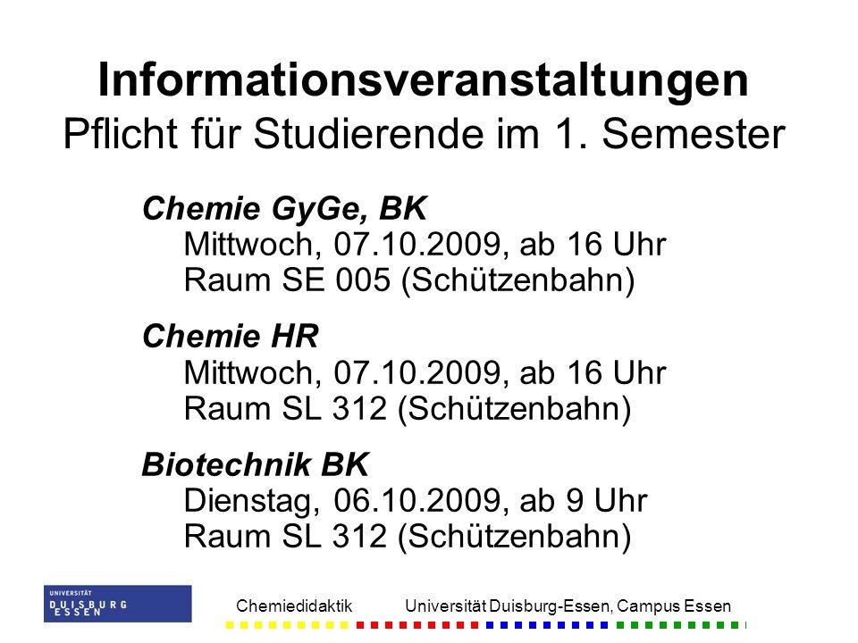 Informationsveranstaltungen Pflicht für Studierende im 1. Semester