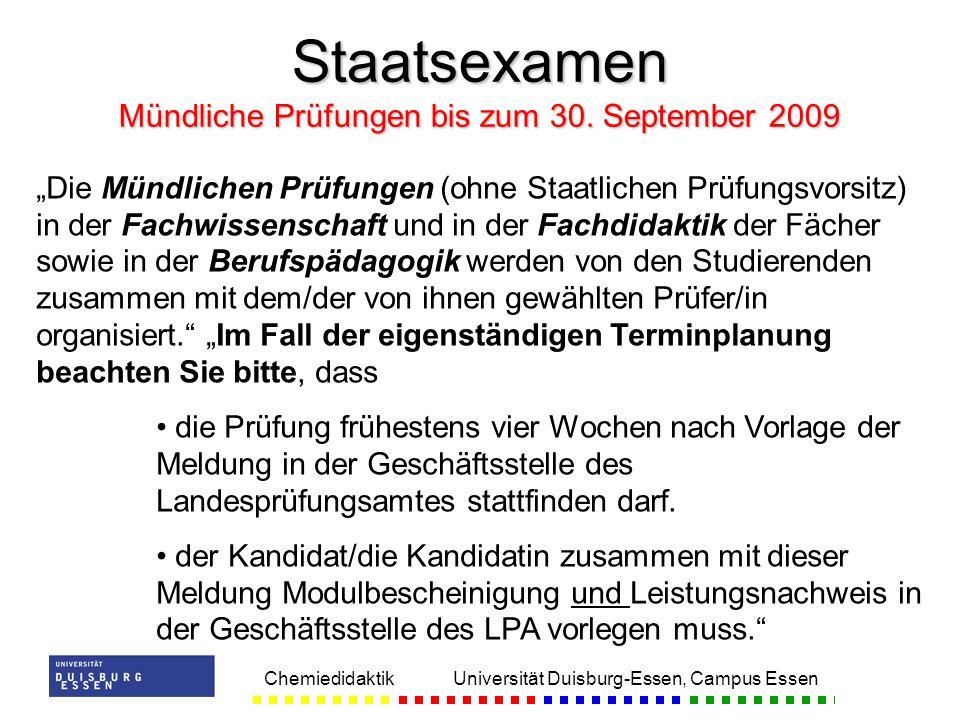 Staatsexamen Mündliche Prüfungen bis zum 30. September 2009