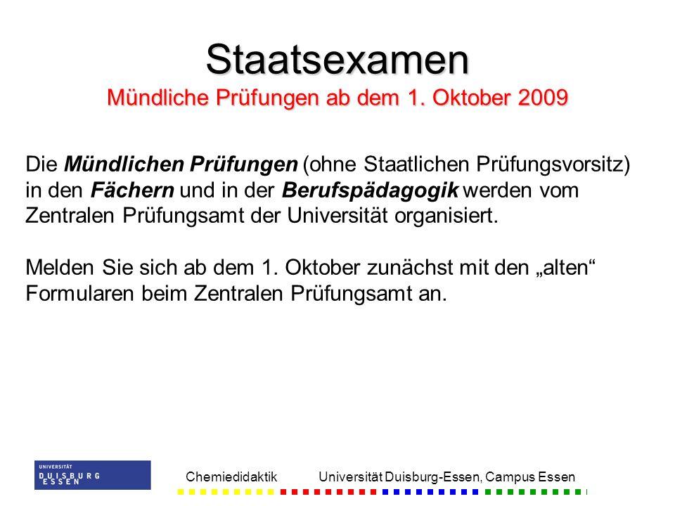 Staatsexamen Mündliche Prüfungen ab dem 1. Oktober 2009