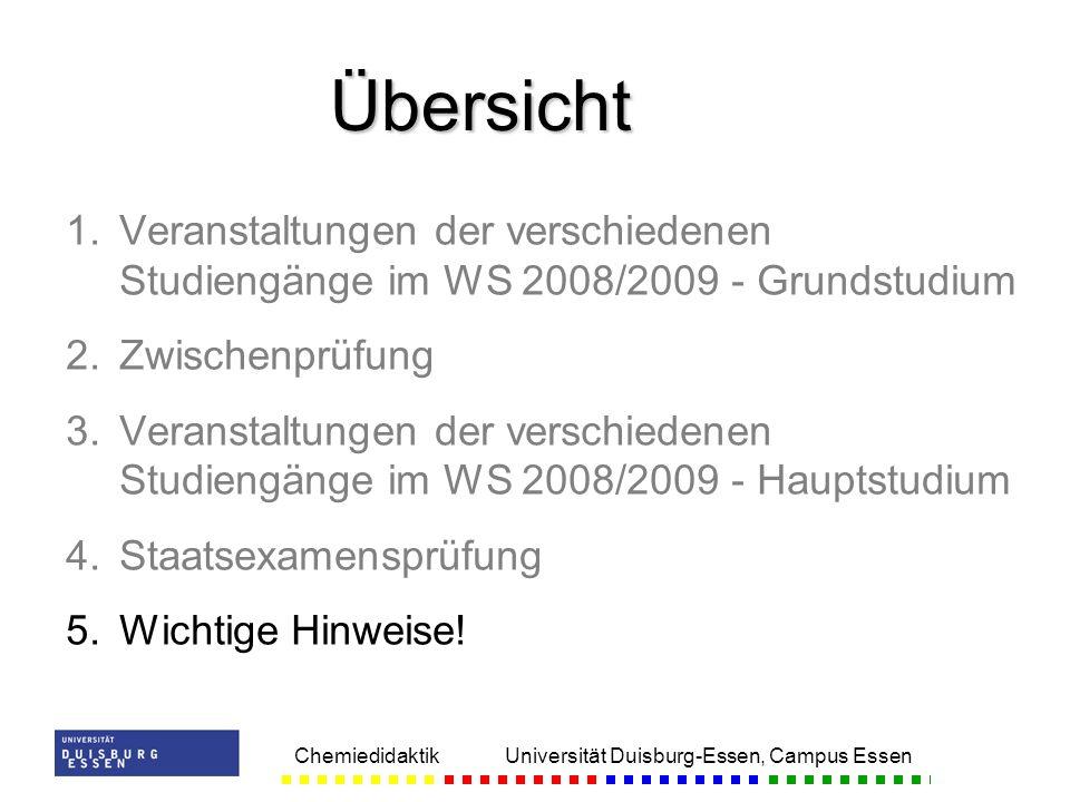Übersicht Veranstaltungen der verschiedenen Studiengänge im WS 2008/2009 - Grundstudium. Zwischenprüfung.
