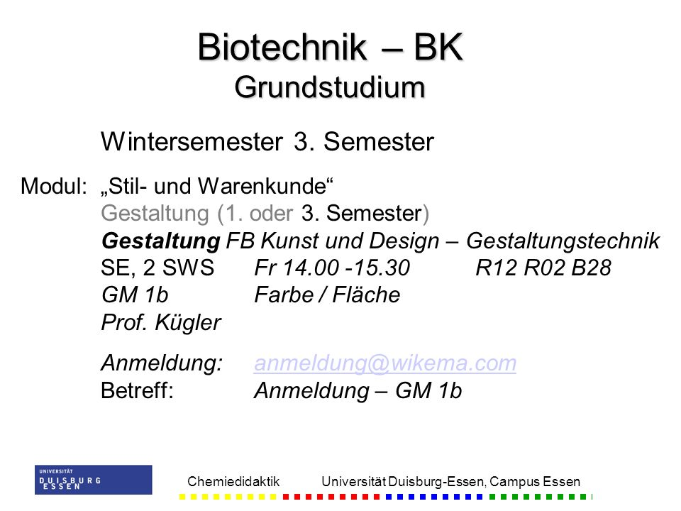 Biotechnik – BK Grundstudium