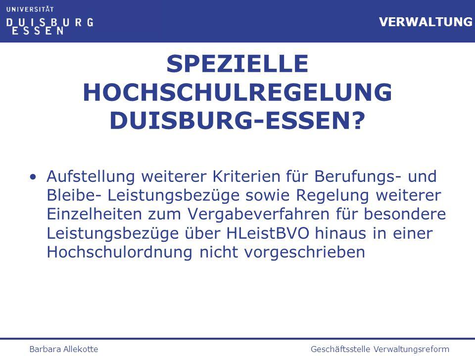 SPEZIELLE HOCHSCHULREGELUNG DUISBURG-ESSEN
