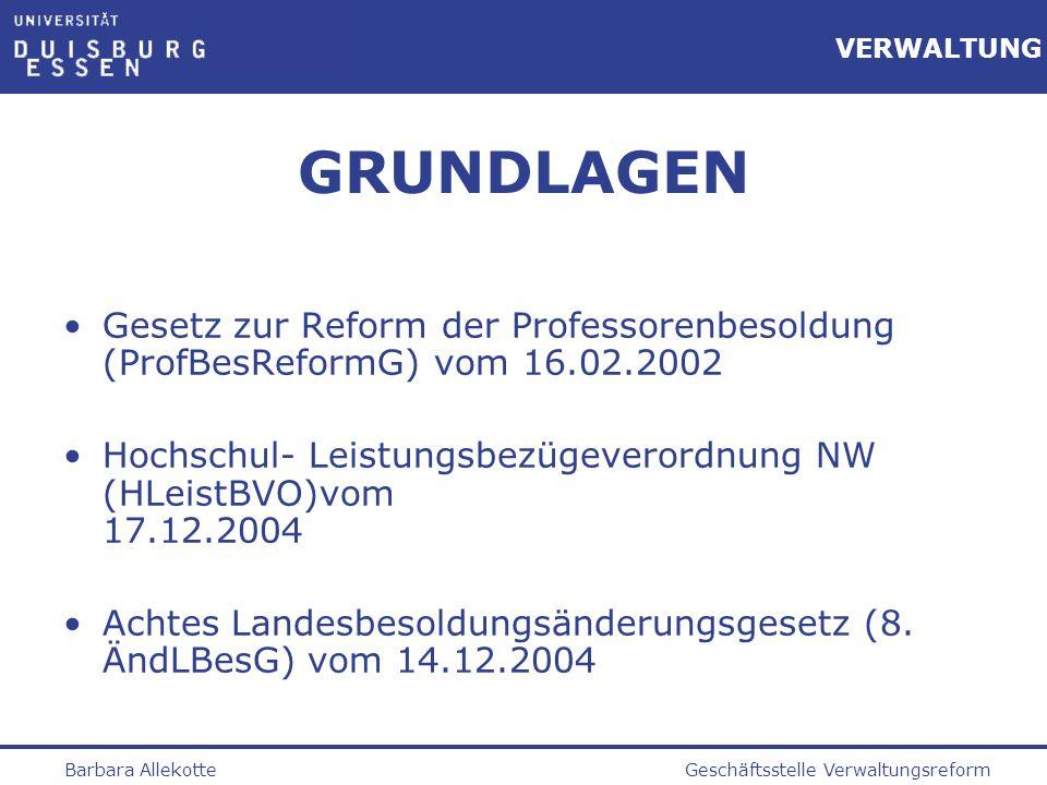 GRUNDLAGEN Gesetz zur Reform der Professorenbesoldung (ProfBesReformG) vom 16.02.2002.