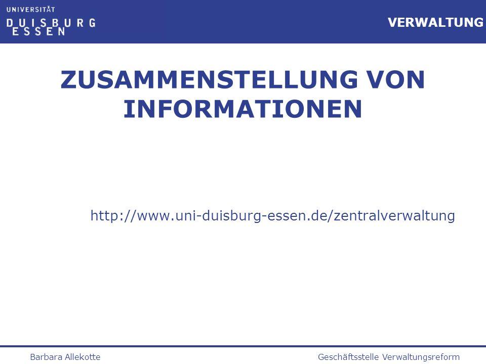 ZUSAMMENSTELLUNG VON INFORMATIONEN