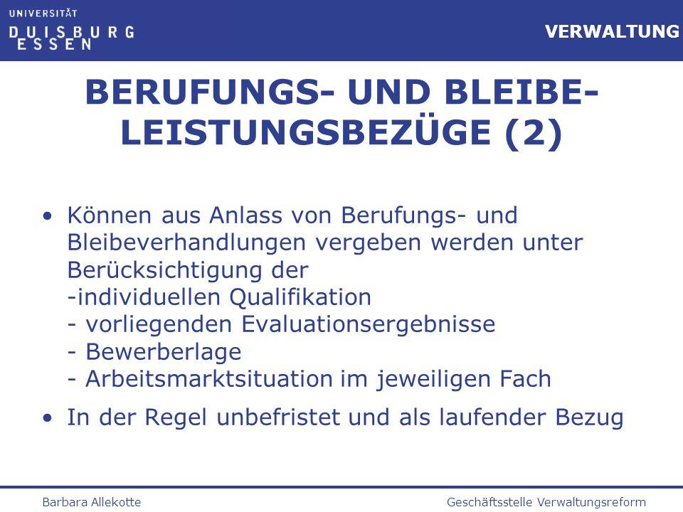 BERUFUNGS- UND BLEIBE-LEISTUNGSBEZÜGE (2)