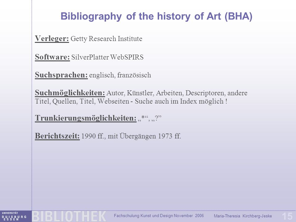 Bibliography of the history of Art (BHA)